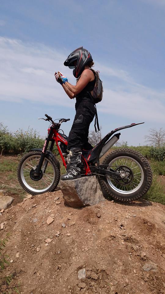 Kim Texting Trials Bike